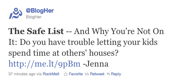 BlogHer Twitter - The Safe List article