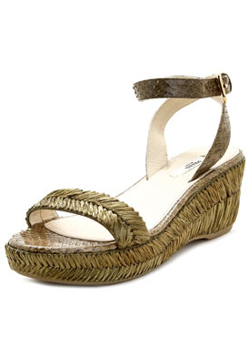 Prada Green Raffia & Snakeskin Coated Platform Wedges on sale at Editor's Closet!