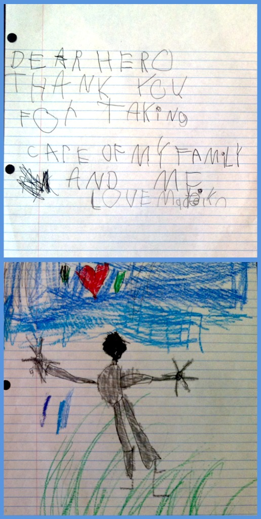 Wordless Wednesday - 5 Year Old Letter to Hero's