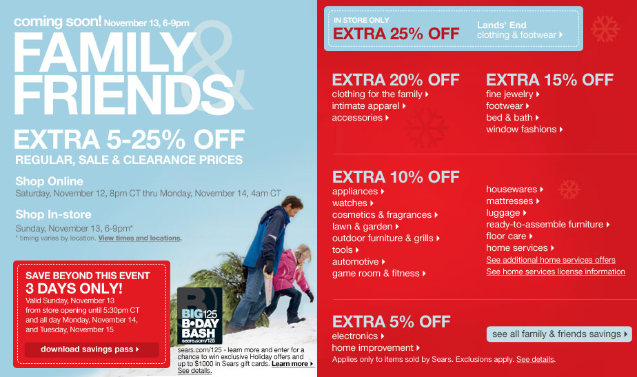 Sears Family & Friends Event! Extra 5-25% Off! Nov. 13th 6-9pm CT