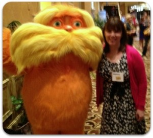 Dr. Seuss Birthday - Alicia with The Lorax at Blissdom Conference