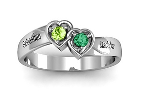 Double interlocked hearts Mother's Day ring from Jewlr.com
