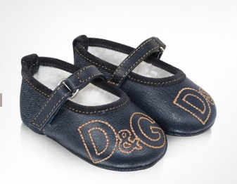 Dolce & Gagana Baby Leather and Denim Ballerina Shoes 50% Off at FORZIERI!