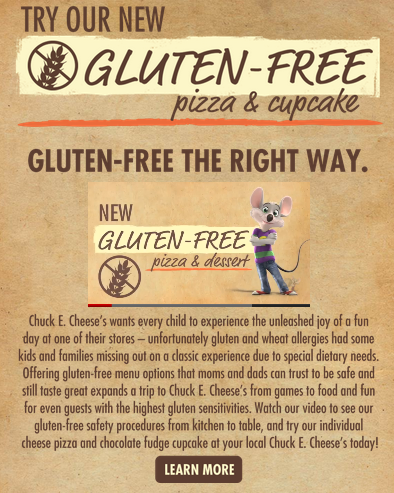 Chuck E. Cheese's Goes Gluten-Free!