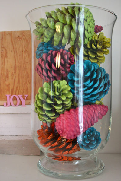 Colorful holiday pinecone craft by HGTV