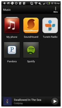 HTC OneX+ Music hub