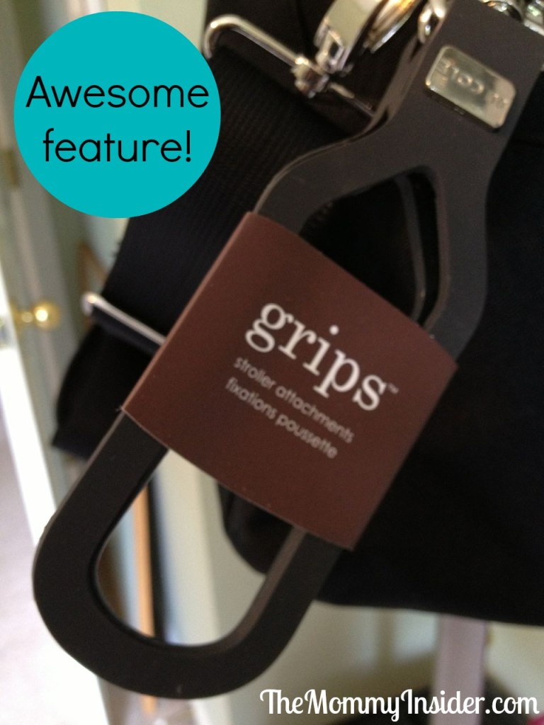 Grips feature for diaper bag on stroller