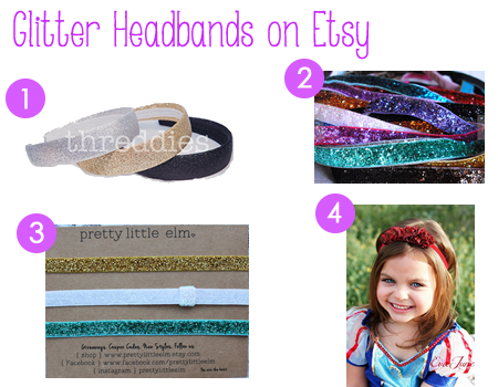 Glitter headbands on Etsy