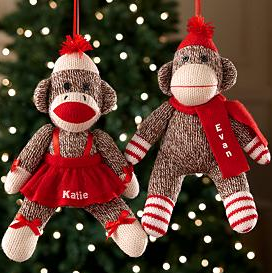 sock monkey personalized ornament
