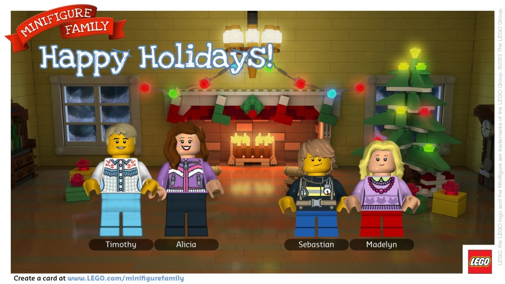 customized LEGO minifigure family holiday card