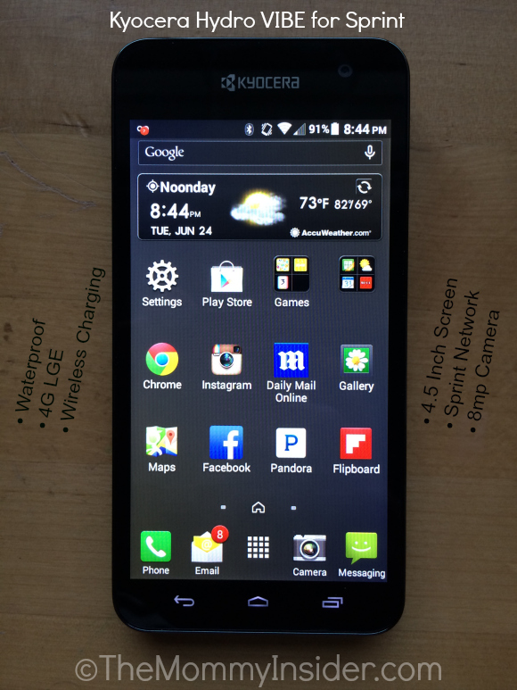 Kyocera Hydro VIBE Waterproof LGE Smartphone for Sprint