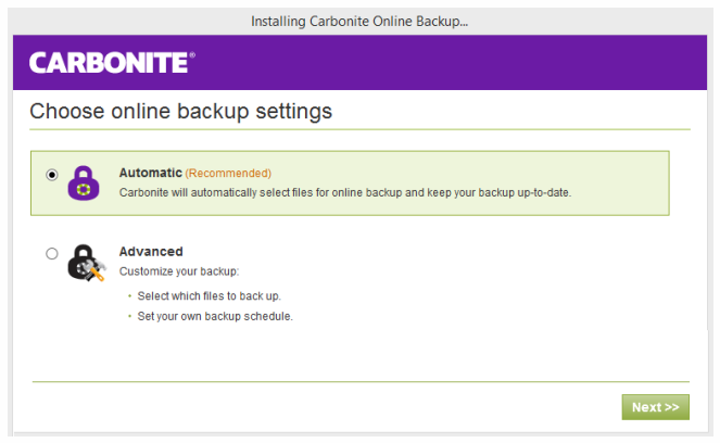 Carbonite backup installation